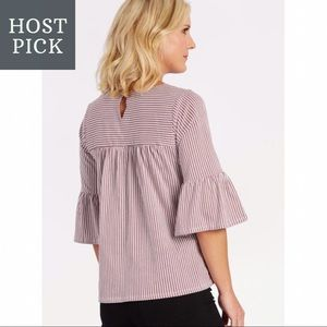Skies Are Blue for Evereve Striped Ruffle Top